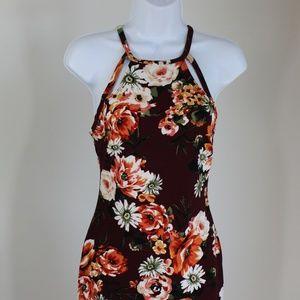 sundress floral red sleeveless knee length